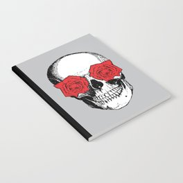 Skull and Roses | Grey and Red Notebook