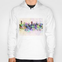 vienna Hoodies featuring Vienna skyline in watercolor background by Paulrommer