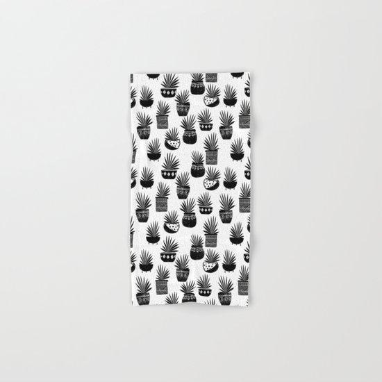 houseplant linocut aloe vera art botanical black and white lino printmaking art minimal modern Hand & Bath Towel