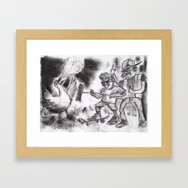 """Teens Fighting a Goose"" (from Farts 'N' Crafts episode 5) Framed Art Print"