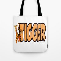 tigger Tote Bags featuring Tigger by Mix-Master