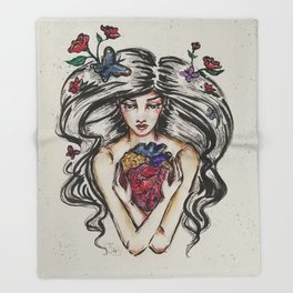 be still my beating heart anitomical love valentine tattoo brunette Throw Blanket