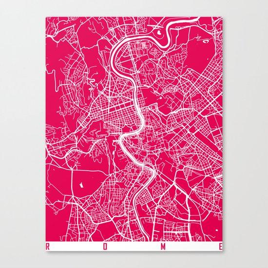 Rome map raspberry Canvas Print