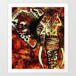 Patterned Sketched Elephant Art Print