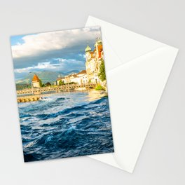 Reuss river and Lucerne old town Stationery Cards