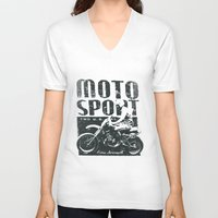 sport V-neck T-shirts featuring Motor Sport by Tshirt-Factory