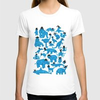 hats T-shirts featuring Blue Animals Black Hats by WanderingBert / David Creighton-Pester