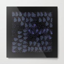 Blue circle on black Metal Print