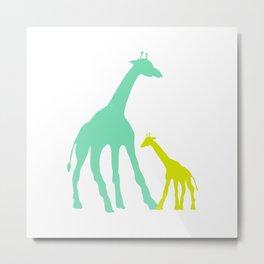 Green Giraffes Metal Print
