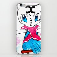 mew iPhone & iPod Skins featuring Mew Mew CH/\N3L by /\TOMIC TURQUOISE