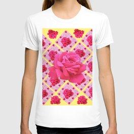 FUCHSIA PINK ROSE PATTERNS & YELLOW GARDEN ART T-shirt