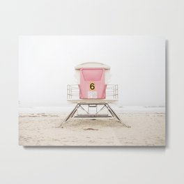 Beach photography pink tower Metal Print