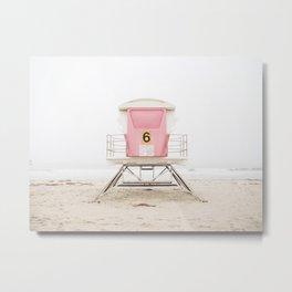 Beach photography pink tower Metal Print