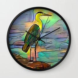 Grey heron on coast of ocean Wall Clock