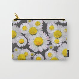 CHARCOAL GREY GARDEN OF SHASTA DAISY FLOWERS Carry-All Pouch