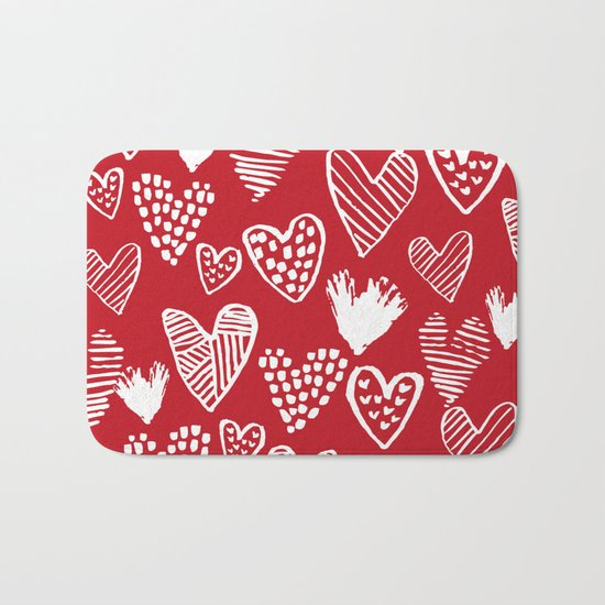 Herats red and white pattern minimal valentines day cute girly gifts hand drawn love patterns Bath Mat