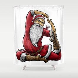 Yogi Santa Claus | Namaste Yoga Christmas Mantra Shower Curtain