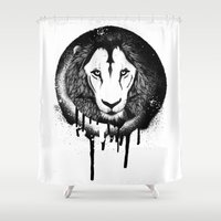grafitti Shower Curtains featuring Hodari Grafitti by a little Piece of Pie