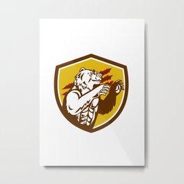 California Grizzly Bear Smirking Claw Marks Crest Retro Metal Print