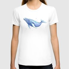 Humpback Whale Watercolor Animal Painting Nursery Animals White SMALL Womens Fitted Tee