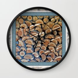 FIREWOOD WAITING IN THE WOODSHED Wall Clock