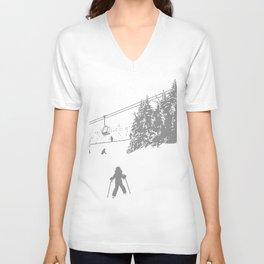 Little Skier - Grey Unisex V-Neck