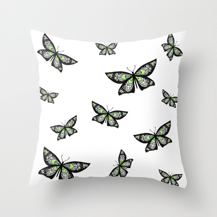 Fly With Pride: Agender Flag Butterfly Throw Pillow