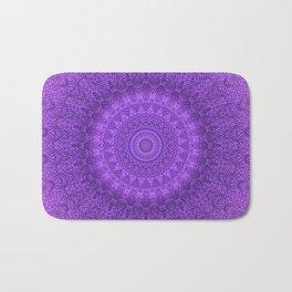 Sunflower Plum Boho Feather Pattern \\ Aesthetic Vintage Bohemian \\ Dark Violet Purple Color Scheme Bath Mat