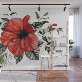 Blooming Red Hibiscus Wall Mural