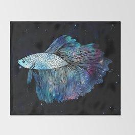 Betta Fish Galaxy Throw Blanket