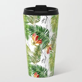 Tropical Palm Leaves and Flowers Travel Mug