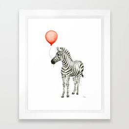 Baby Zebra with Red Balloon Framed Art Print