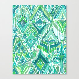 Spring TEMPLE TRIBAL Green Ikat Canvas Print
