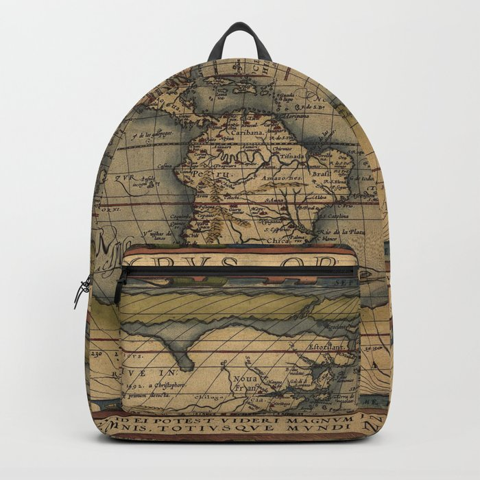 The world Ortelius Typus Orbis Terrarum 1564 Vintage World Backpack