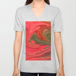Red And Green Marble Unisex V-Neck
