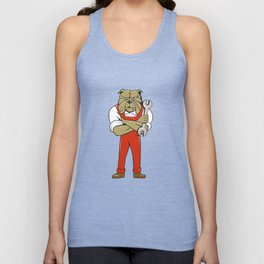 Bulldog Mechanic Arms Crossed Spanner Cartoon  Unisex Tank Top