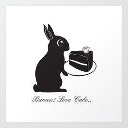 Bunnies Love Cake, Bunny Illustration, cake lovers, animal lover gift Art Print