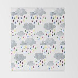 Rainbow Rain Clouds Throw Blanket