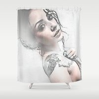 hippie Shower Curtains featuring Hippie Queen by Robin Curtiss