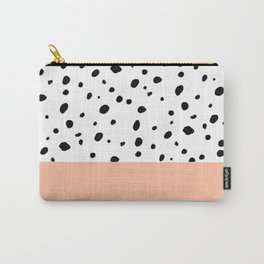 Elegant black toffee color watercolor polka dots  Carry-All Pouch