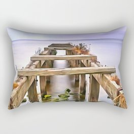 Derrytrasna Jetty, Ireland. (Painting) Rectangular Pillow