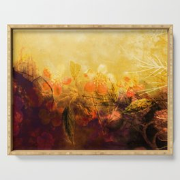 LOVELY FLOWERS ARE KISSING A YELLOW FIELD Serving Tray