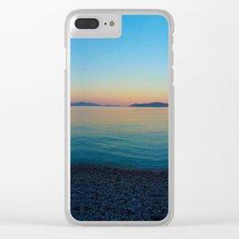 Sunset Greek Island Clear iPhone Case