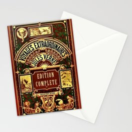 Jules Verne Voyages Extraordinaire Red Lithographic Print by Jeanpaul Ferro Stationery Cards