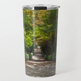 Tree lined path in Madrid Travel Mug