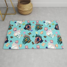 Skulls and Butterflies Colored Pattern Rug