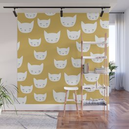 Sweet sleepy kitty cats kawaii baby animals kids pattern Wall Mural