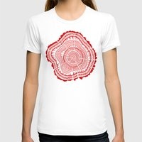 tree rings T-shirts featuring Red Tree Rings by Cat Coquillette