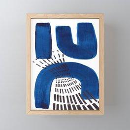 Abstract Expressionism Mid Century Modern Acrylic Painting Minimalist Art Navy Blue Black Line Patte Framed Mini Art Print