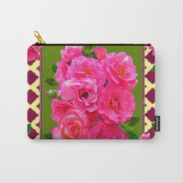 VIBRANT PINK ROSES ON MOSS GREEN PATTERN Carry-All Pouch